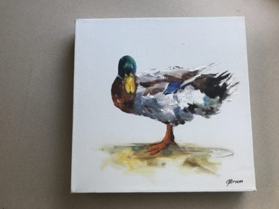 painting of mallard duck